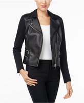 MICHAEL Michael Kors Faux-Leather & Ponte Moto Jacket