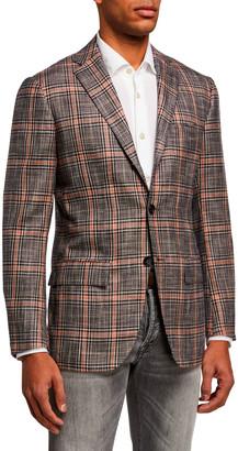 Kiton Men's Plaid Silk-Blend Sport Jacket