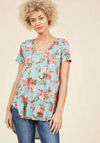 ModCloth Packing Preserves Knit Top in Sky Floral in XS - Short Sleeve A-line Waist