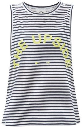 The Upside Striped Logo-print Cotton-jersey Tank Top - Blue Stripe