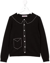 Familiar contrast trim cardigan - kids - Cotton - 6 yrs