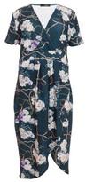 Dorothy Perkins Womens Quiz Multi Colour Floral Print Wrap Midi Dress