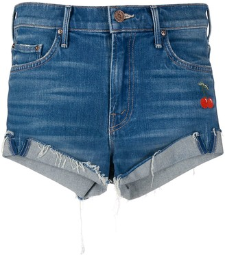 Mother Cherry Embroidered Denim Shorts