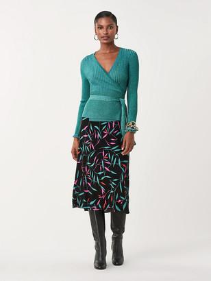 Diane von Furstenberg Beck Metallic-Wool Wrap Top