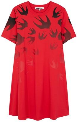 McQ Red swallow-print cotton T-shirt dress