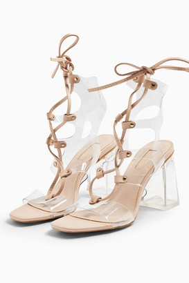 Topshop RESORT Beige Lace Up Transparent Heels