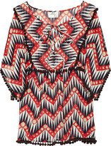 Milly Tribal cotton and silk-blend top