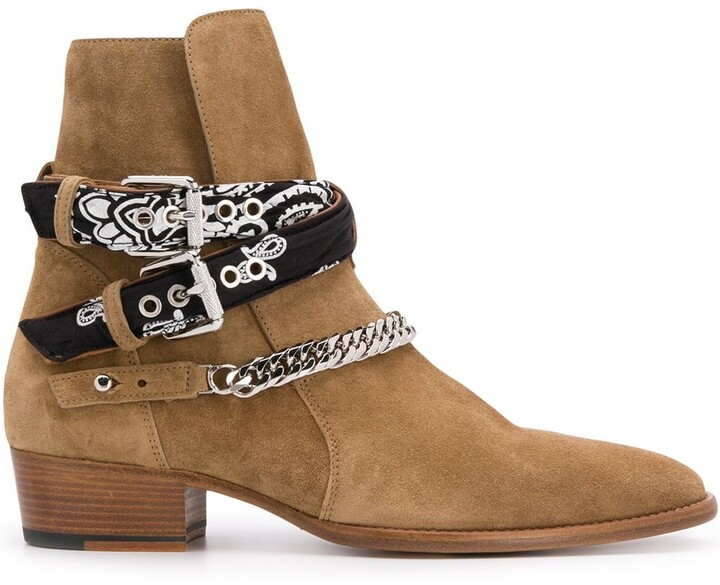 Amiri Chain-Embellished Ankle Boots