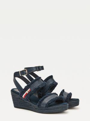 Tommy Hilfiger Fringe Mid-Heel Wedge Jute Sandals