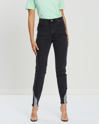 Missguided Sinner High-Waisted Ripped Skinny Jeans