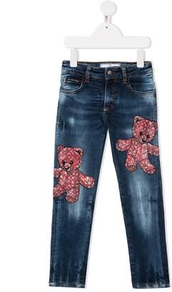 Philipp Plein Slim Fit Teddy Bear Jeans