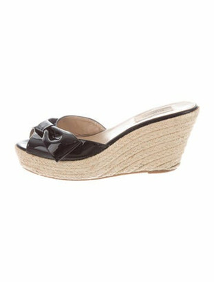 Valentino Patent Leather Bow Accents Espadrilles Black