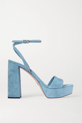 Prada 125 Suede Platform Sandals - Light blue