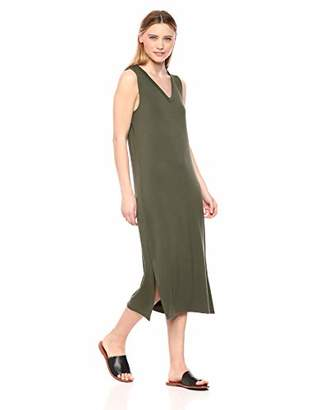 Daily Ritual Supersoft Terry Sleeveless V-Neck Midi Dress Casual,(EU S - M)