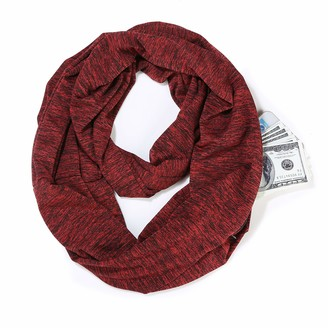 CONWEA Scarf Women Soft Neck Scarves Loop Scarf with Hidden Zipper Pocket Travel Scarf for Ladies
