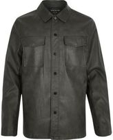 River Island MensDark green leather look shirt jacket