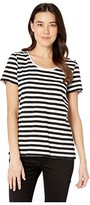 Vince Camuto Short Sleeve Amour City Stripe Scoop Neck Tee (Rich Black) Women's T Shirt