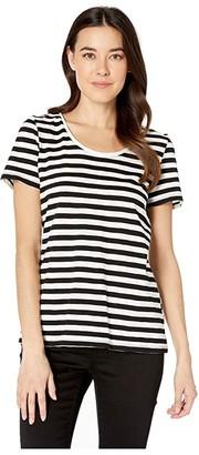Vince Camuto Short Sleeve Amour City Stripe Scoop Neck Tee (Rich Black) Women's T Shirt