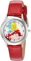Disney Girl's 'Ariel' Quartz Stainless Steel and Leather Watch, Color:Red (Model: W002917)