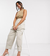 Asos DESIGN Petite inverted pleat clean balloon leg pants with turn up