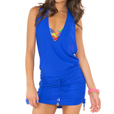 Luli Fama Cosita Buena Cover Ups T-Back Mini Dress in Electric blue (L177979)