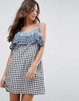 Asos Gingham Double Layered Sundress With Embroidery Detail
