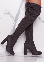Missy Empire Lolita Grey Suede Thigh High Heeled Boots