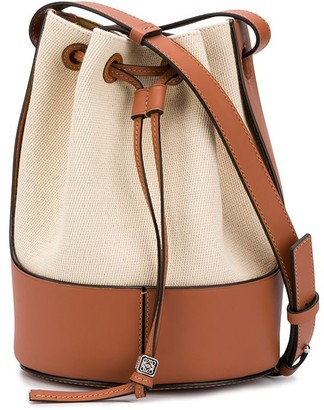 Loewe Balloon leather-trimmed canvas bucket bag