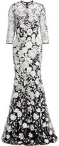 Thumbnail for your product : Naeem Khan Resort Floral-Embroidered Gown