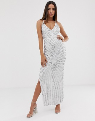 Club L London patterned sequin maxi dress