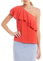WAYF Conway One-Shoulder Ruffle Blouse