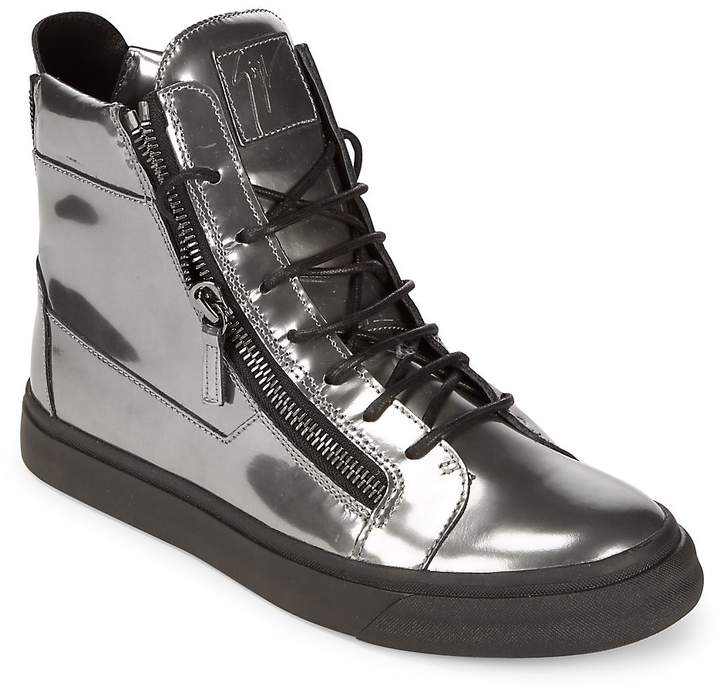Giuseppe Zanotti Men's Embossed Leather Two Zip High-Top Sneakers