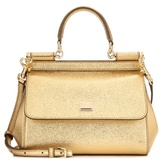 Dolce & Gabbana Miss Sicily Small Metallic Leather Shoulder Bag