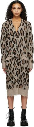 R 13 Beige Cashmere Long Leopard Cardigan