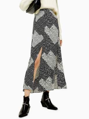 Topshop Tall Spot Maxi Skirt - Monochrome