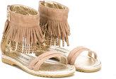 Cesare Paciotti Kids - fringed sandals - kids - Hemp/Goat Skin/Goat Suede/rubber - 24