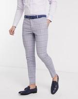 Asos DESIGN wedding super skinny suit pants in blue linen windowpane check