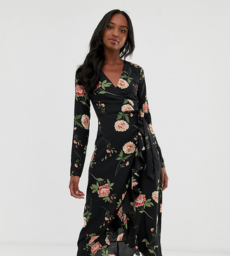 Fashion Union Tall wrap midi dress in oversize floral-Black
