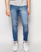 Pull&bear Super Skinny Jeans In Light Wash Blue