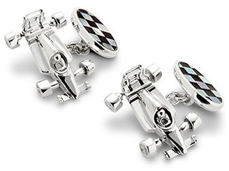 Aspinal of London Sterling Silver Racing Chequered Flag Cufflinks