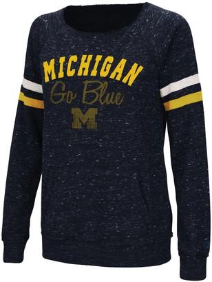 Colosseum Women's Heathered Navy Michigan Wolverines Stormin The Castle Raw Edge Crewneck Sweatshirt