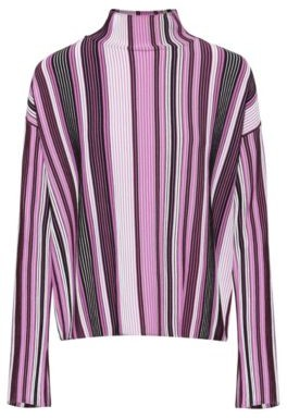 HUGO BOSS Oversized Fit Sweater With Turtleneck And Multicolored Stripe - Patterned