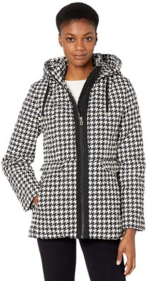 Kate Spade Houndstooth Quilted Short Jacket w/ Hood (Houndstooth) Women's Coat
