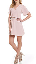 GB Popover Faux-Wrap Shift Dress
