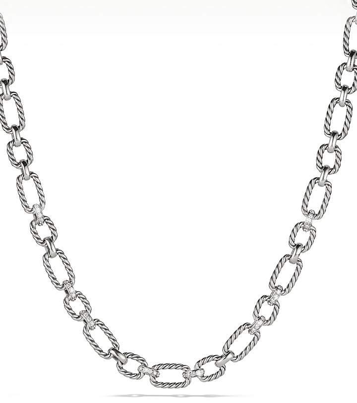 David Yurman Cushion Chain Link Necklace with Diamonds