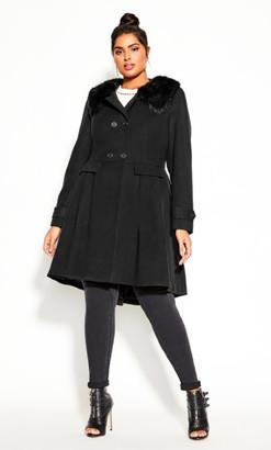 City Chic Grandiose Coat - black