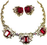 One Kings Lane Vintage Amerique Ruby Crystal Necklace Suite