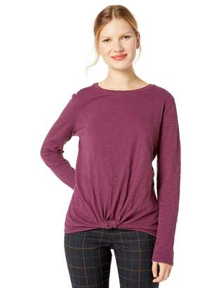 Mulberry Cable Stitch Cable Sttich Women's Long Sleeve Knotted Tee X-Small