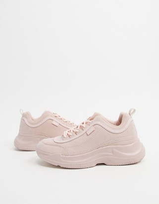 Xti chunky lace up trainers in beige