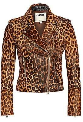 L'Agence Women's Leopard Print Leather Biker Jacket